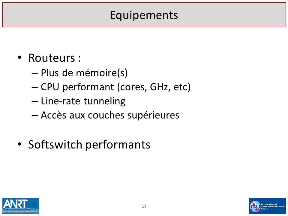 Routeurs : – Plus de mémoire(s) – CPU performant (cores, GHz, etc) – Line-rate tunneling – Accès aux couches supérieures Softswitch performants Equipe