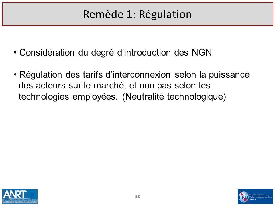 18 Remède 1: Régulation Considération du degré dintroduction des NGN Régulation des tarifs dinterconnexion selon la puissance des acteurs sur le march