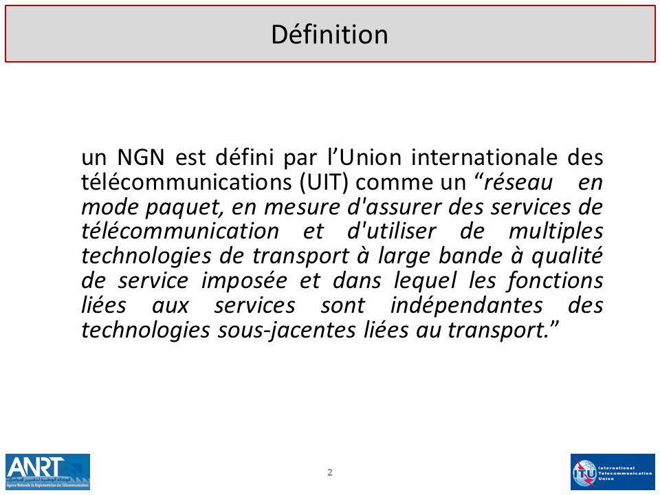 2 Définition un NGN est défini par lUnion internationale des télécommunications (UIT) comme un réseau en mode paquet, en mesure d'assurer des services