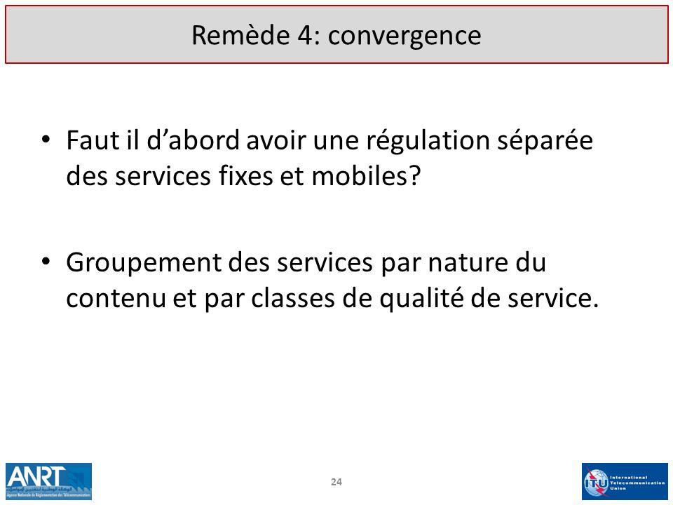 Remède 4: convergence Faut il dabord avoir une régulation séparée des services fixes et mobiles? Groupement des services par nature du contenu et par