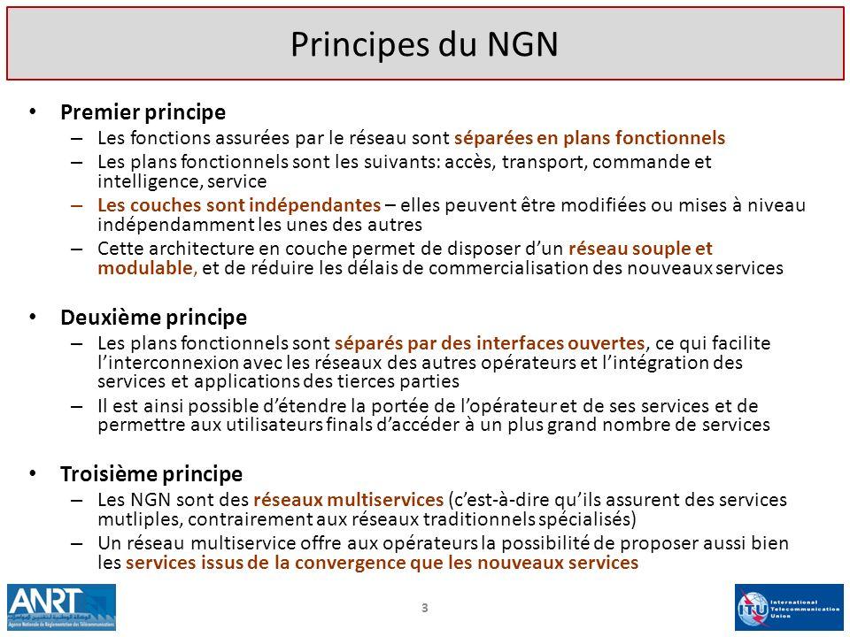 3 Principes du NGN Premier principe – Les fonctions assurées par le réseau sont séparées en plans fonctionnels – Les plans fonctionnels sont les suiva