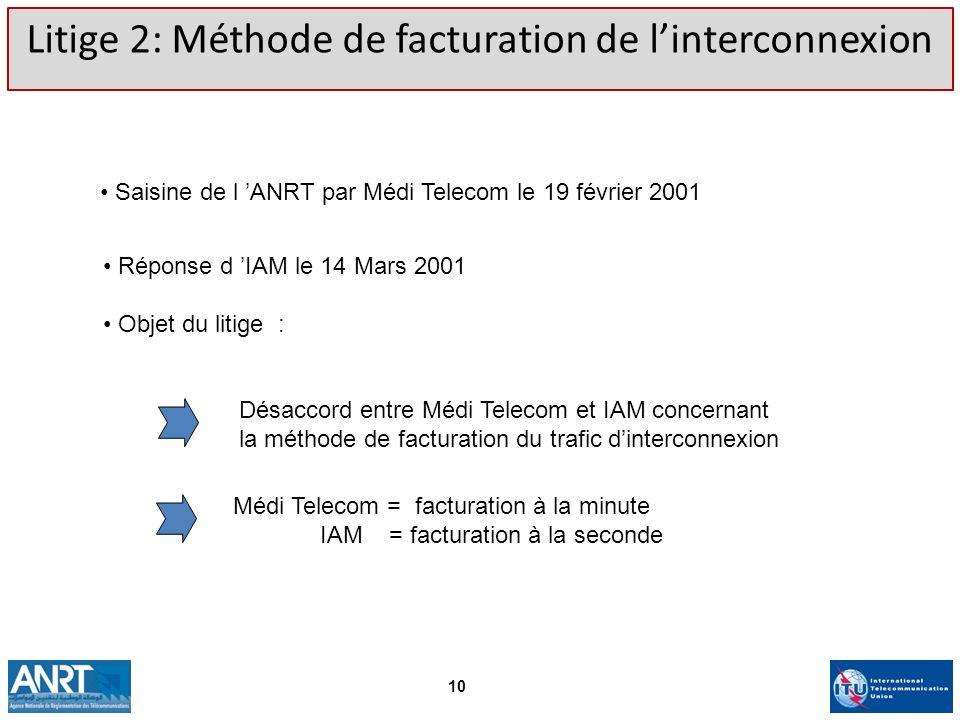 Litige 2: Méthode de facturation de linterconnexion Saisine de l ANRT par Médi Telecom le 19 février 2001 Désaccord entre Médi Telecom et IAM concerna