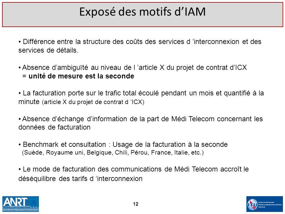 Exposé des motifs dIAM Différence entre la structure des coûts des services d interconnexion et des services de détails. Absence dambiguïté au niveau