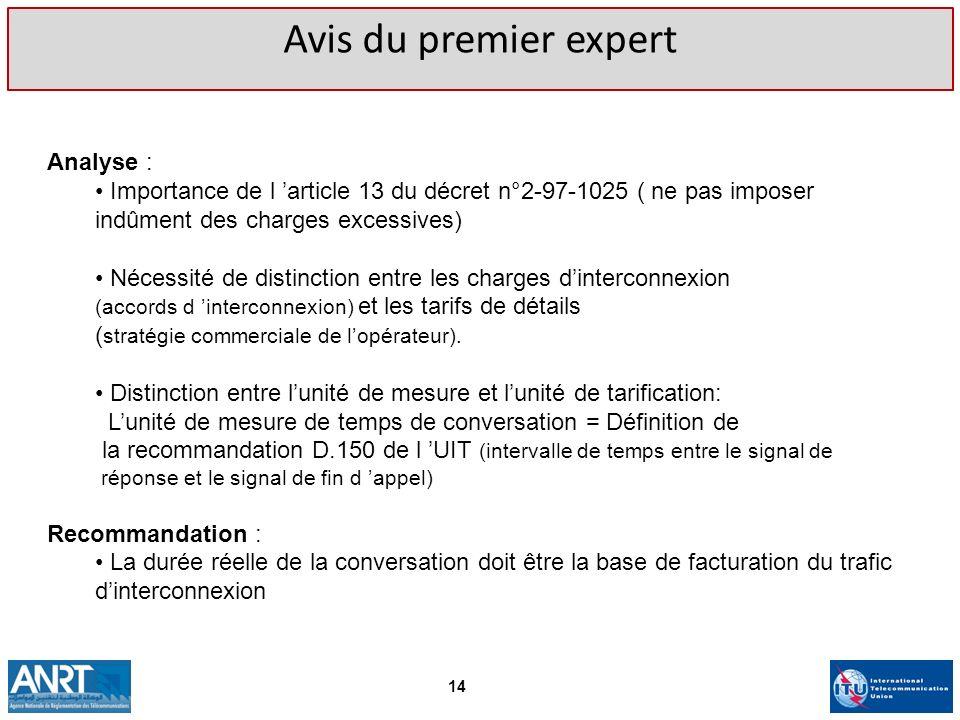 Avis du premier expert Analyse : Importance de l article 13 du décret n°2-97-1025 ( ne pas imposer indûment des charges excessives) Nécessité de disti