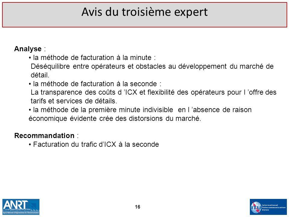 Avis du troisième expert Analyse : la méthode de facturation à la minute : Déséquilibre entre opérateurs et obstacles au développement du marché de dé