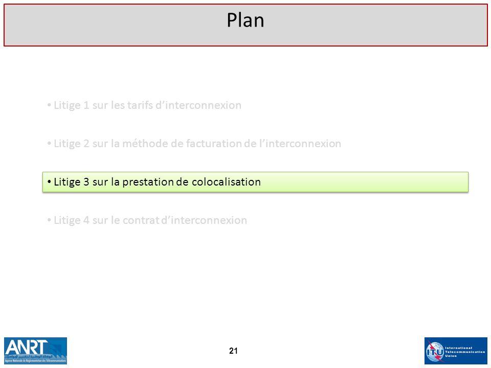 Litige 1 sur les tarifs dinterconnexion Plan 21 Litige 2 sur la méthode de facturation de linterconnexion Litige 3 sur la prestation de colocalisation