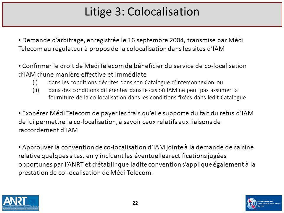 Demande darbitrage, enregistrée le 16 septembre 2004, transmise par Médi Telecom au régulateur à propos de la colocalisation dans les sites dIAM Confi