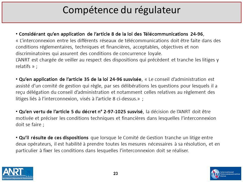 Considérant quen application de larticle 8 de la loi des Télécommunications 24-96, « Linterconnexion entre les différents réseaux de télécommunication
