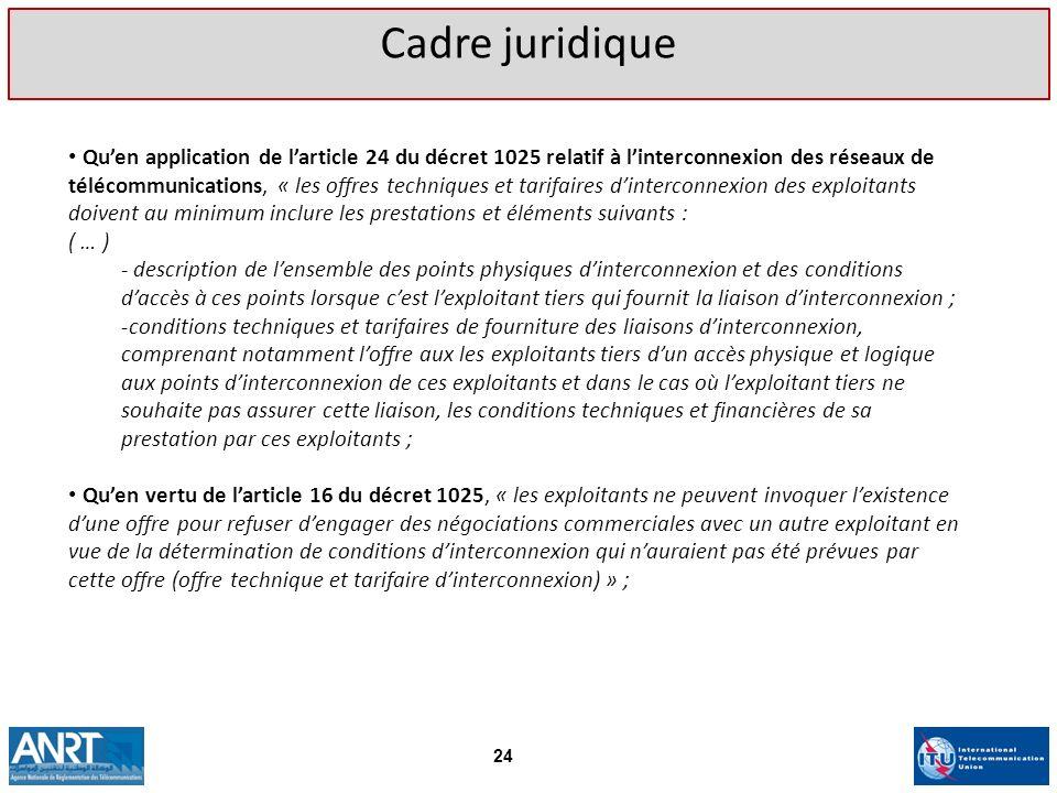 Quen application de larticle 24 du décret 1025 relatif à linterconnexion des réseaux de télécommunications, « les offres techniques et tarifaires dint