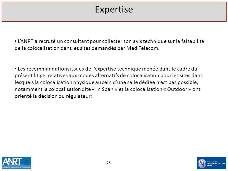 LANRT a recruté un consultant pour collecter son avis technique sur la faisabilité de la colocalisation dans les sites demandés par MediTelecom. Les r