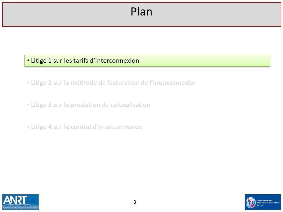 Litige 1 sur les tarifs dinterconnexion Plan 3 Litige 2 sur la méthode de facturation de linterconnexion Litige 3 sur la prestation de colocalisation