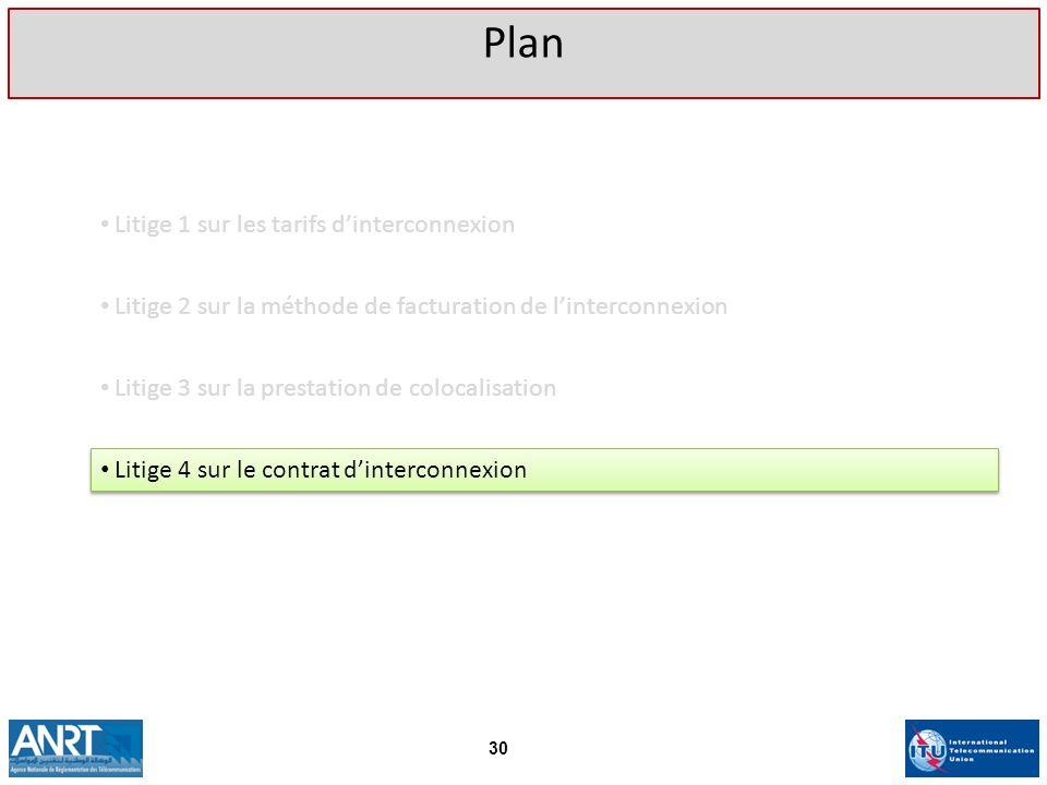 Litige 1 sur les tarifs dinterconnexion Plan 30 Litige 2 sur la méthode de facturation de linterconnexion Litige 3 sur la prestation de colocalisation