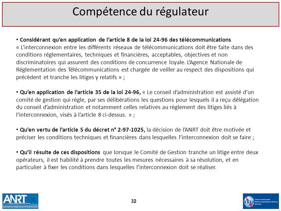 Considérant quen application de larticle 8 de la loi 24-96 des télécommunications « Linterconnexion entre les différents réseaux de télécommunications