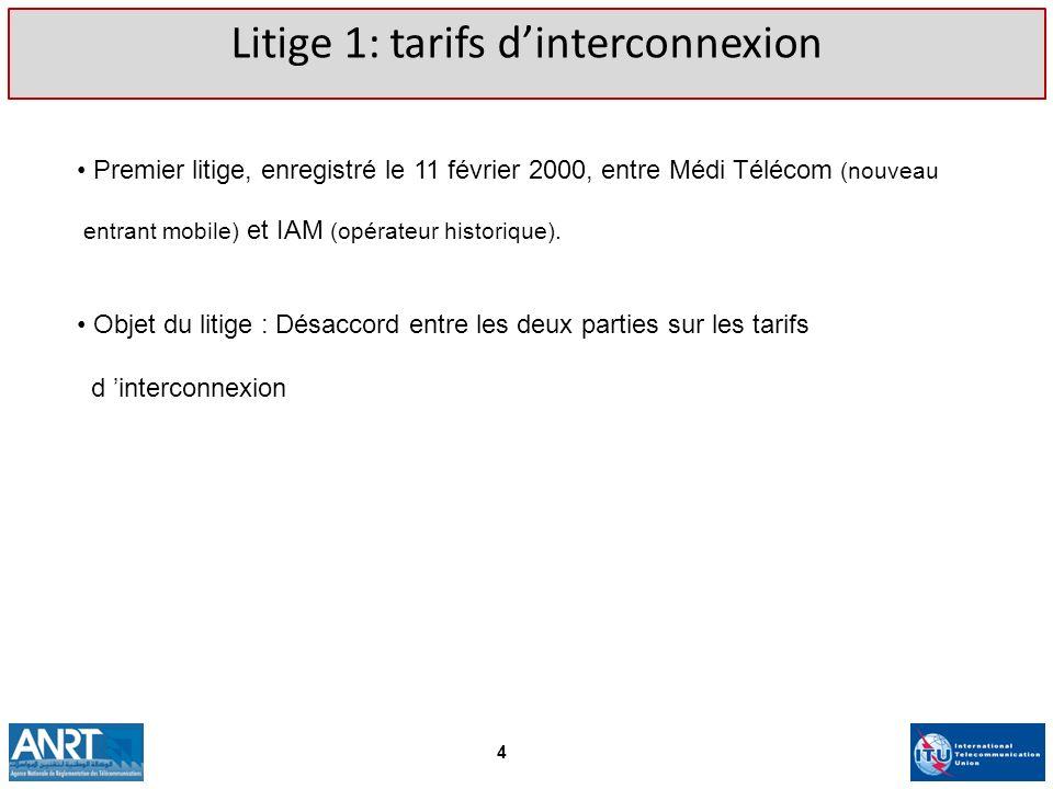 Premier litige, enregistré le 11 février 2000, entre Médi Télécom (nouveau entrant mobile) et IAM (opérateur historique). Objet du litige : Désaccord