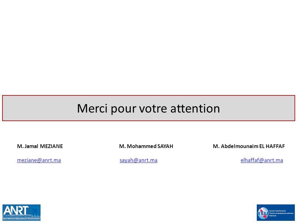 Merci pour votre attention M. Jamal MEZIANE M. Mohammed SAYAH M. Abdelmounaim EL HAFFAF meziane@anrt.mameziane@anrt.ma sayah@anrt.ma elhaffaf@anrt.mas