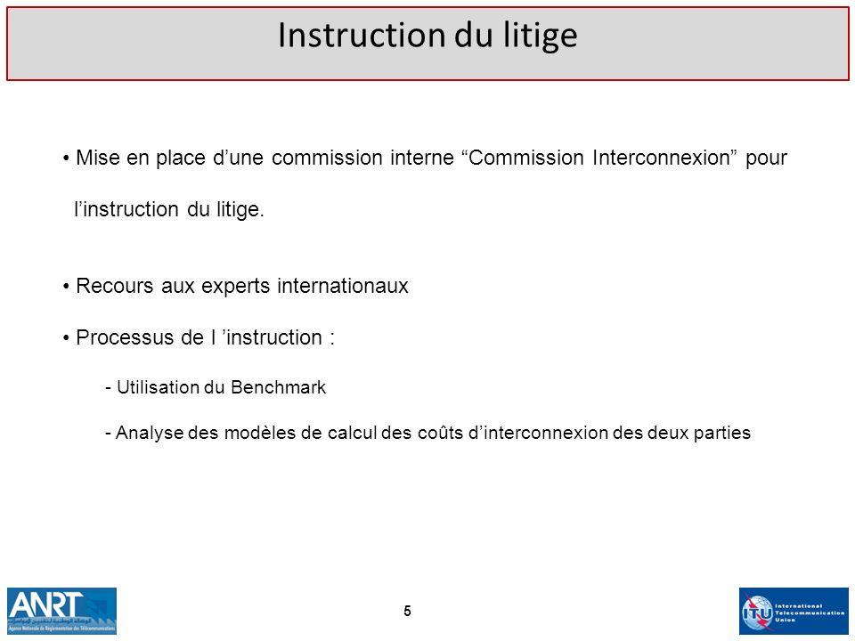 Instruction du litige Mise en place dune commission interne Commission Interconnexion pour linstruction du litige. Recours aux experts internationaux
