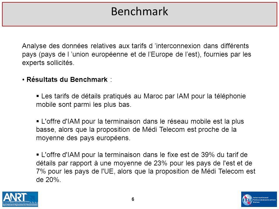 Benchmark Analyse des données relatives aux tarifs d interconnexion dans différents pays (pays de l union européenne et de lEurope de lest), fournies