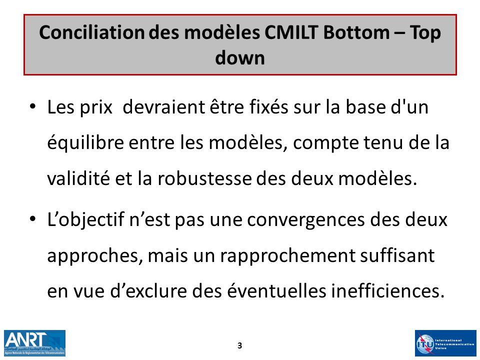 Conciliation des modèles CMILT Bottom – Top down Les prix devraient être fixés sur la base d'un équilibre entre les modèles, compte tenu de la validit