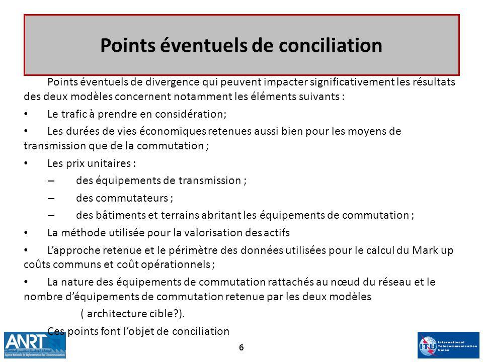 Points éventuels de conciliation Points éventuels de divergence qui peuvent impacter significativement les résultats des deux modèles concernent notam