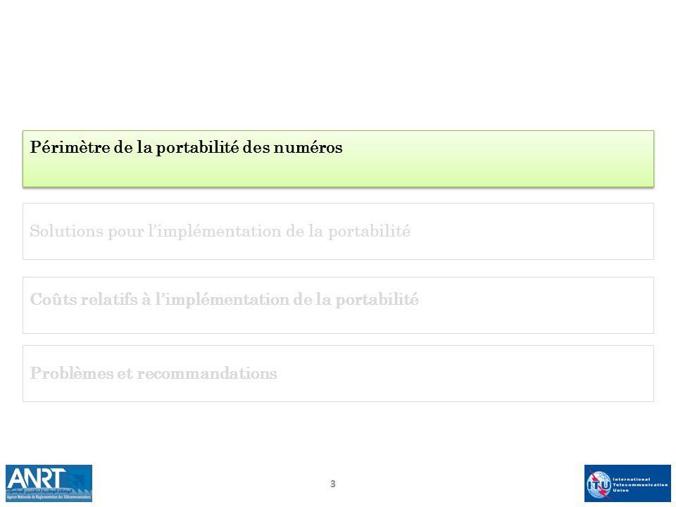 3 Périmètre de la portabilité des numéros Solutions pour limplémentation de la portabilité Problèmes et recommandations Coûts relatifs à limplémentati
