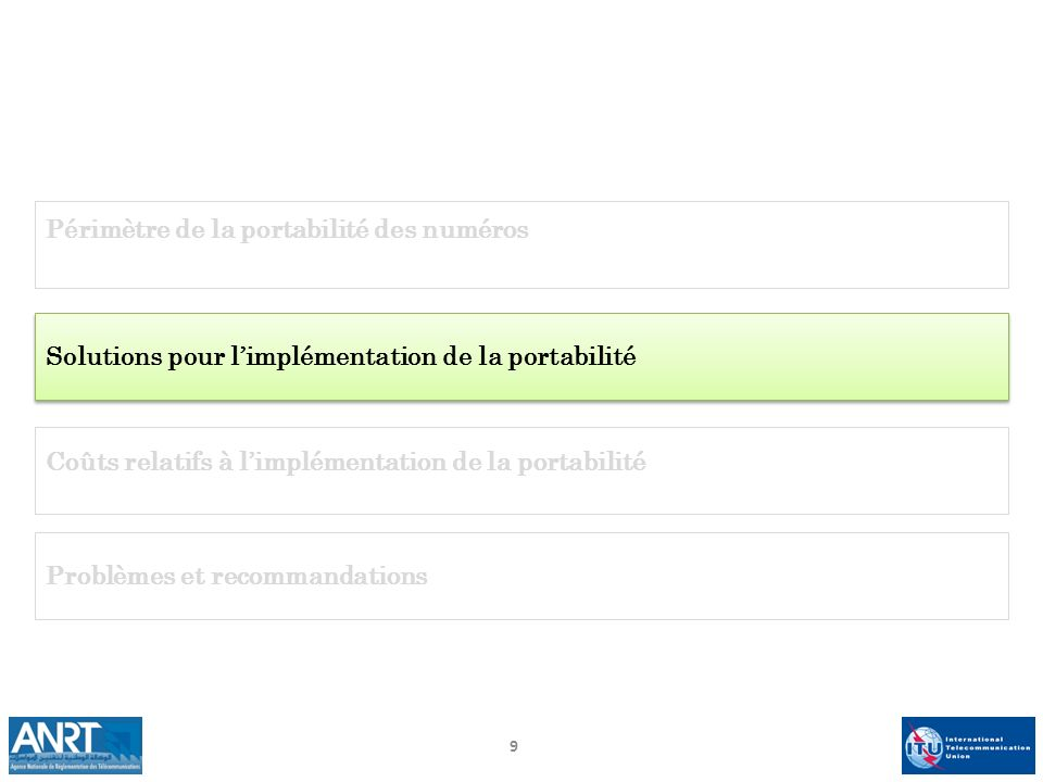 9 Périmètre de la portabilité des numéros Solutions pour limplémentation de la portabilité Problèmes et recommandations Coûts relatifs à limplémentati