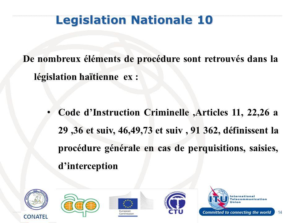 14 Legislation Nationale 10 Legislation Nationale 10 De nombreux éléments de procédure sont retrouvés dans la législation haïtienne ex : Code dInstruction Criminelle,Articles 11, 22,26 a 29,36 et suiv, 46,49,73 et suiv, 91 362, définissent la procédure générale en cas de perquisitions, saisies, dinterception CONATEL
