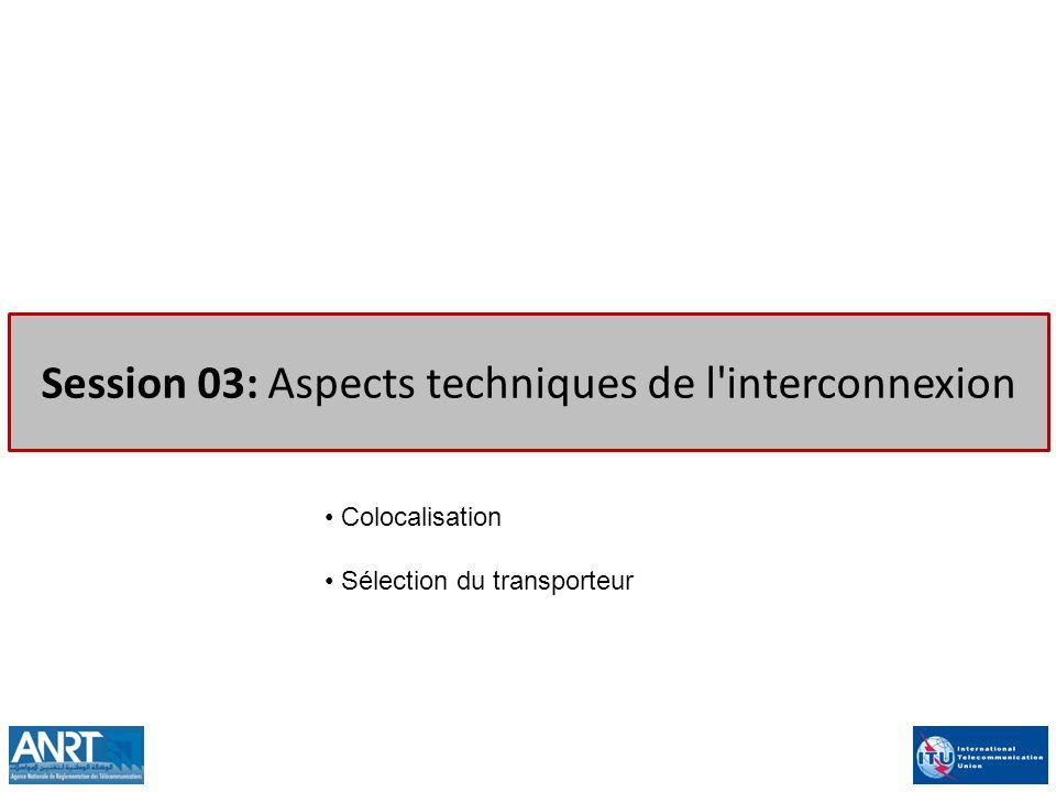 Session 03: Aspects techniques de l'interconnexion Colocalisation Sélection du transporteur