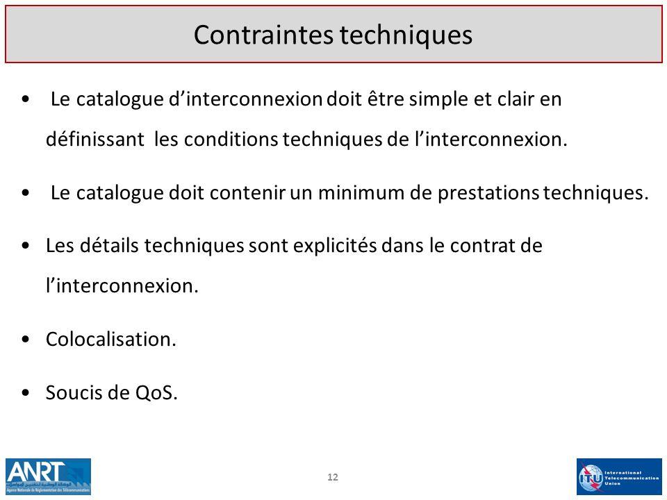 Le catalogue dinterconnexion doit être simple et clair en définissant les conditions techniques de linterconnexion. Le catalogue doit contenir un mini