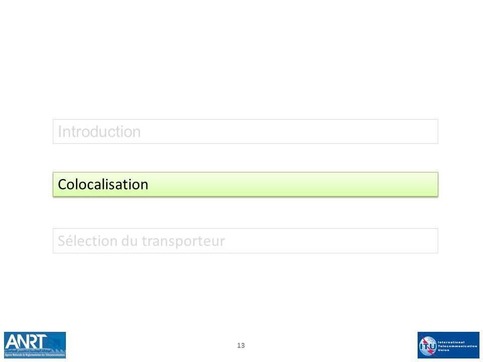 13 Introduction Colocalisation Sélection du transporteur