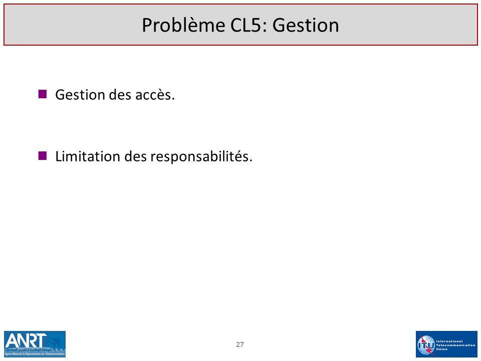 Gestion des accès. Limitation des responsabilités. 27 Problème CL5: Gestion