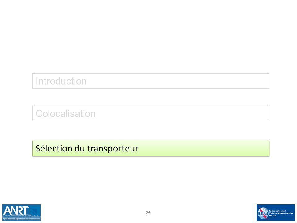 29 Introduction Colocalisation Sélection du transporteur