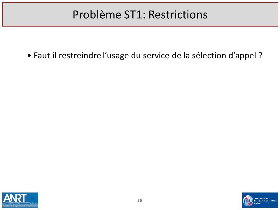 Faut il restreindre lusage du service de la sélection dappel ? 36 Problème ST1: Restrictions