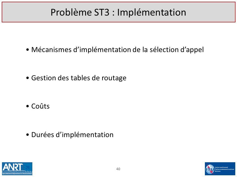 Mécanismes dimplémentation de la sélection dappel Gestion des tables de routage Coûts Durées dimplémentation 40 Problème ST3 : Implémentation