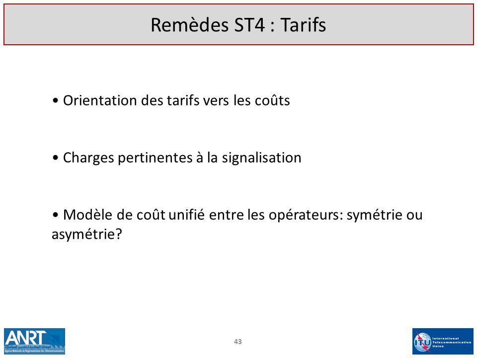 Orientation des tarifs vers les coûts Charges pertinentes à la signalisation Modèle de coût unifié entre les opérateurs: symétrie ou asymétrie? 43 Rem