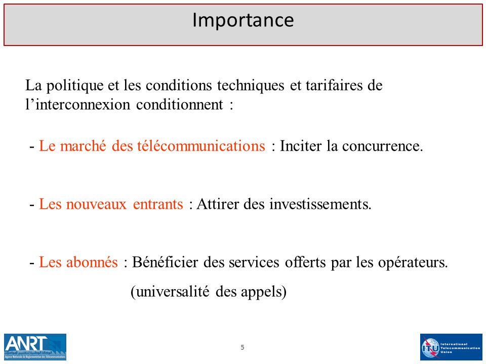 La politique et les conditions techniques et tarifaires de linterconnexion conditionnent : - Le marché des télécommunications : Inciter la concurrence