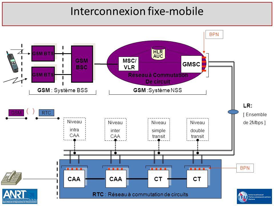 RTC : Réseau à commutation de circuits GSM BTS GSM BSC GSM BTS MSC/ VLR GMSC Réseau à Commutation De circuit BPN GSM : Système BSSGSM :Système NSS LR: