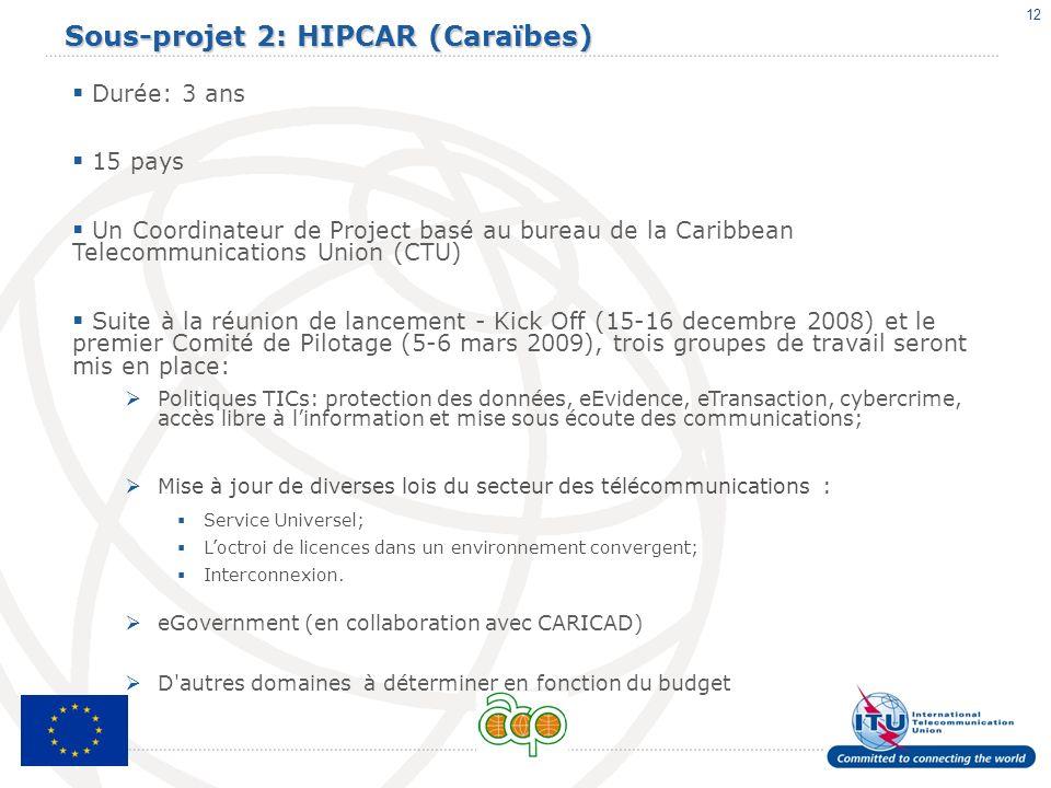 12 Sous-projet 2: HIPCAR (Caraïbes) Durée: 3 ans 15 pays Un Coordinateur de Project basé au bureau de la Caribbean Telecommunications Union (CTU) Suit