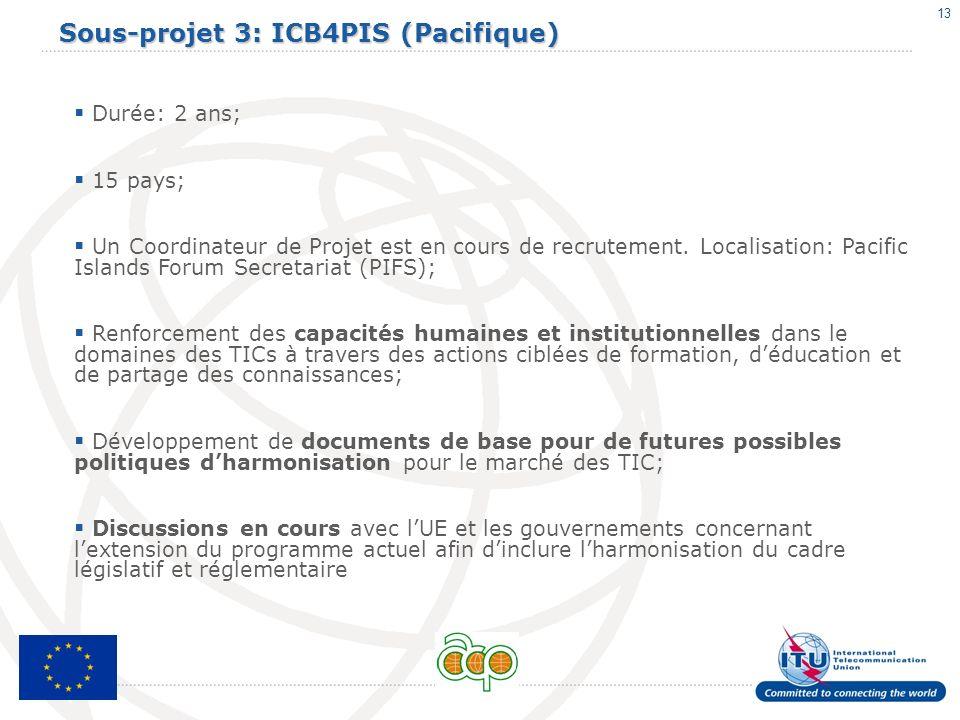 13 Sous-projet 3: ICB4PIS (Pacifique) Durée: 2 ans; 15 pays; Un Coordinateur de Projet est en cours de recrutement. Localisation: Pacific Islands Foru