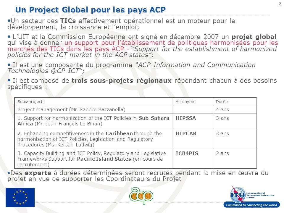 2 Un Project Global pour les pays ACP Un secteur des TICs effectivement opérationnel est un moteur pour le développement, la croissance et lemploi; LU