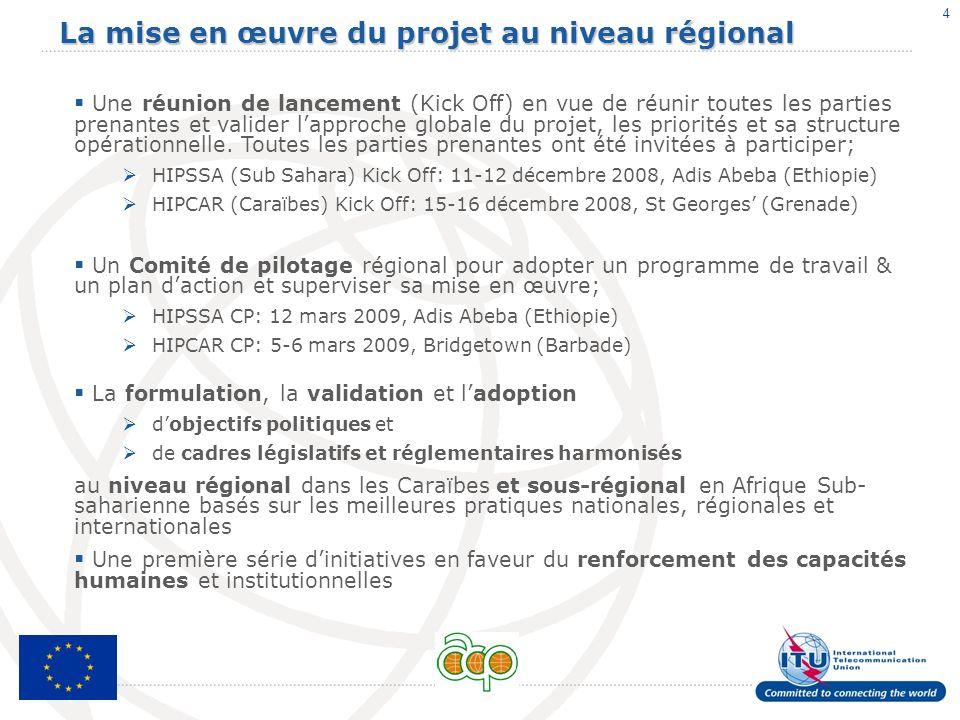 4 La mise en œuvre du projet au niveau régional Une réunion de lancement (Kick Off) en vue de réunir toutes les parties prenantes et valider lapproche