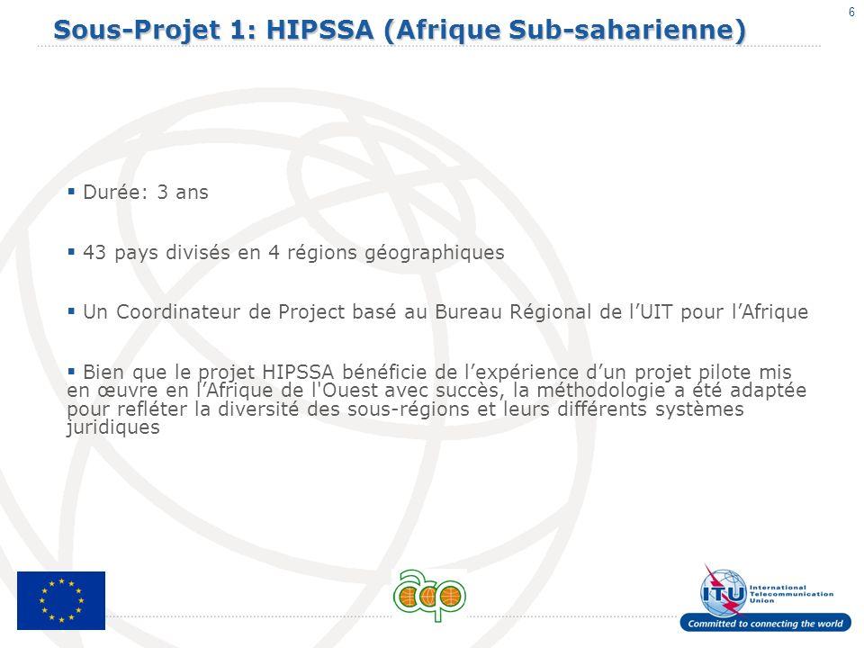 6 Sous-Projet 1: HIPSSA (Afrique Sub-saharienne) Durée: 3 ans 43 pays divisés en 4 régions géographiques Un Coordinateur de Project basé au Bureau Rég