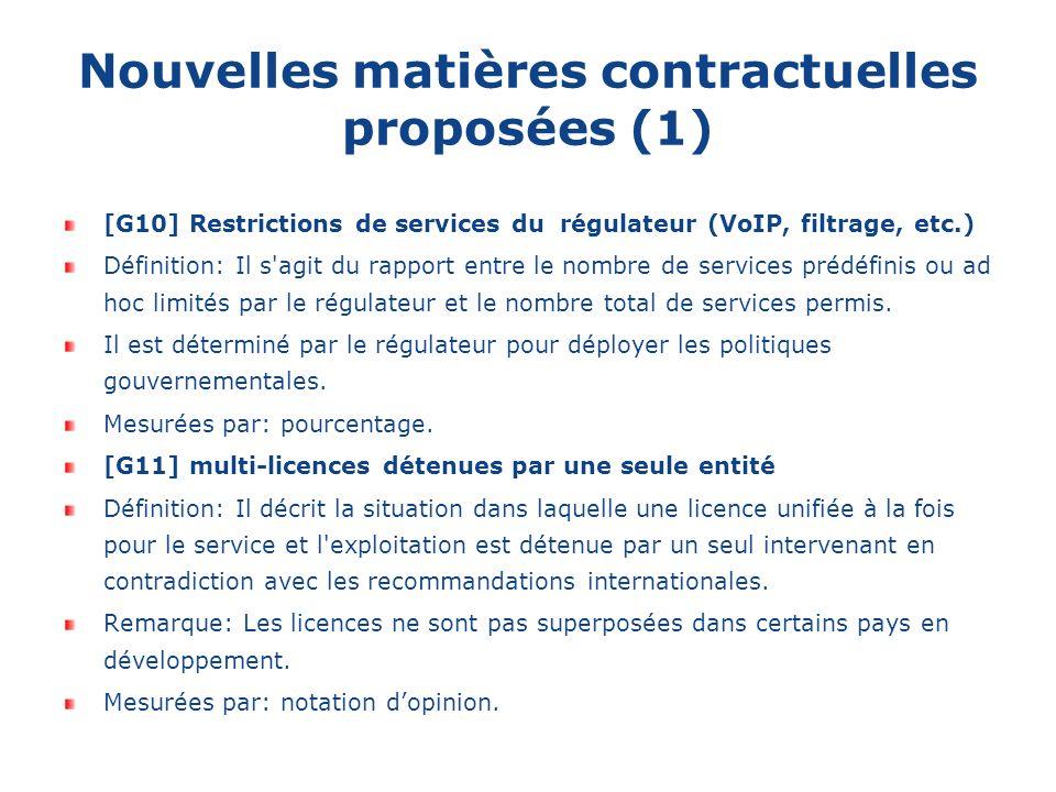 Nouvelles matières contractuelles proposées (1) [G10] Restrictions de services du régulateur (VoIP, filtrage, etc.) Définition: Il s agit du rapport entre le nombre de services prédéfinis ou ad hoc limités par le régulateur et le nombre total de services permis.