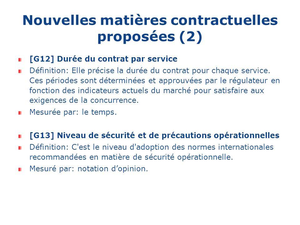 Nouvelles matières contractuelles proposées (2) [G12] Durée du contrat par service Définition: Elle précise la durée du contrat pour chaque service.