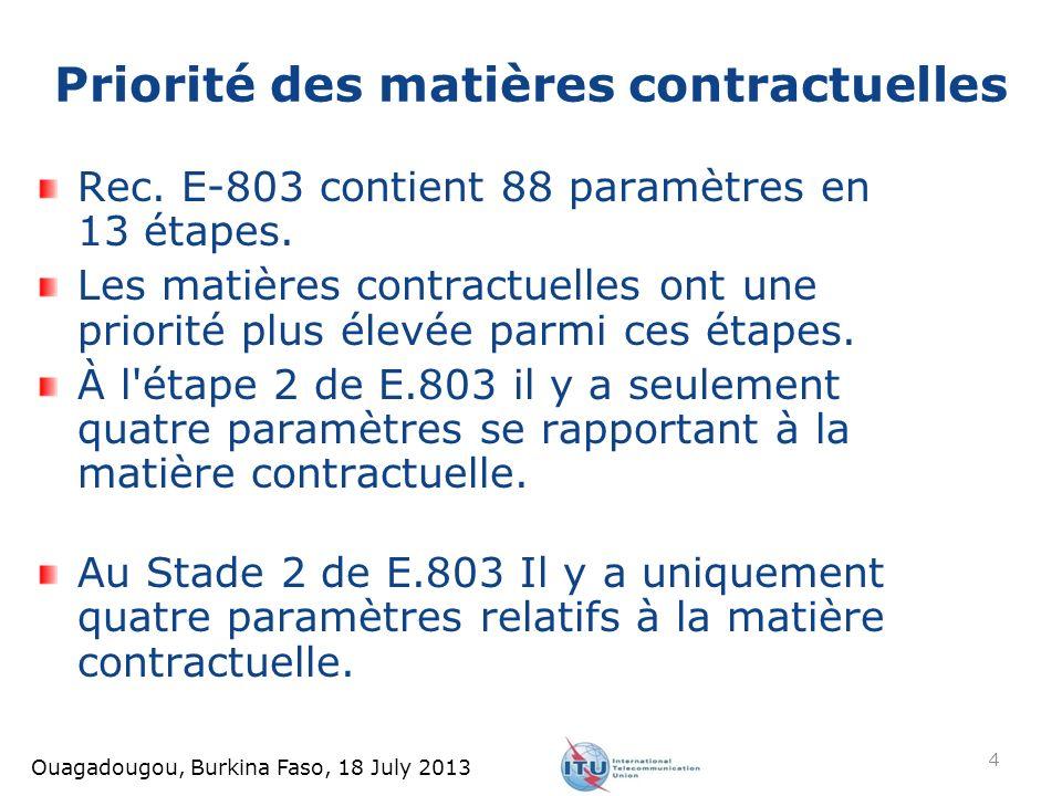 Ouagadougou, Burkina Faso, 18 July 2013 Rec. E-803 contient 88 paramètres en 13 étapes. Les matières contractuelles ont une priorité plus élevée parmi