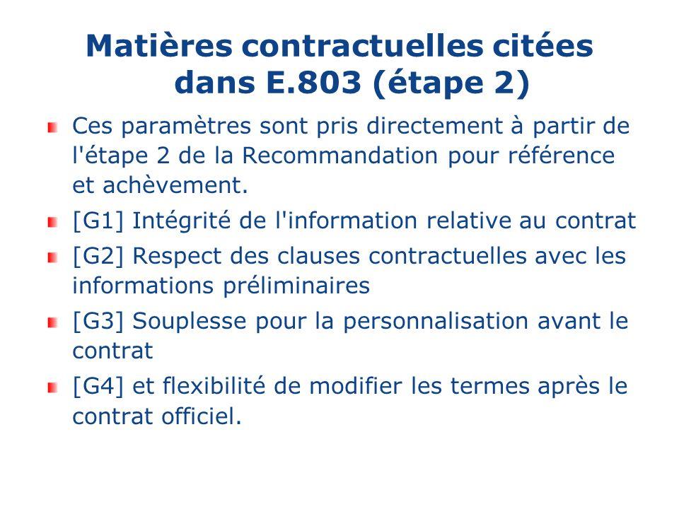 Matières contractuelles citées dans E.803 (étape 2) Ces paramètres sont pris directement à partir de l étape 2 de la Recommandation pour référence et achèvement.