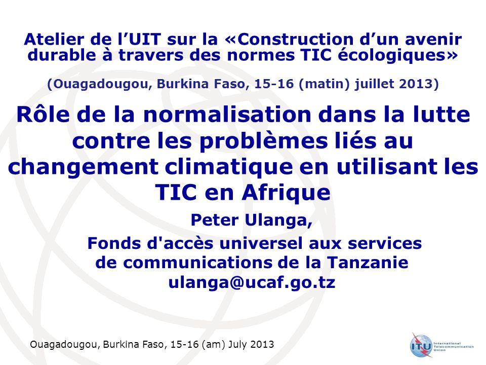 Ouagadougou, Burkina Faso, 15-16 (am) July 2013 Rôle de la normalisation dans la lutte contre les problèmes liés au changement climatique en utilisant