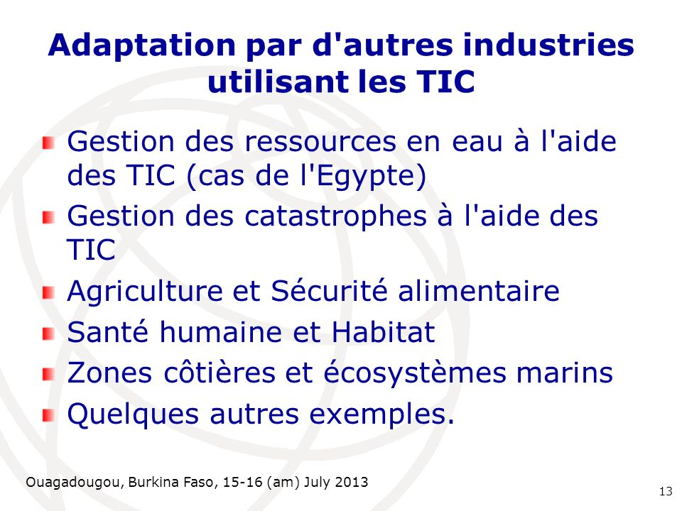 Ouagadougou, Burkina Faso, 15-16 (am) July 2013 Adaptation par d'autres industries utilisant les TIC Gestion des ressources en eau à l'aide des TIC (c