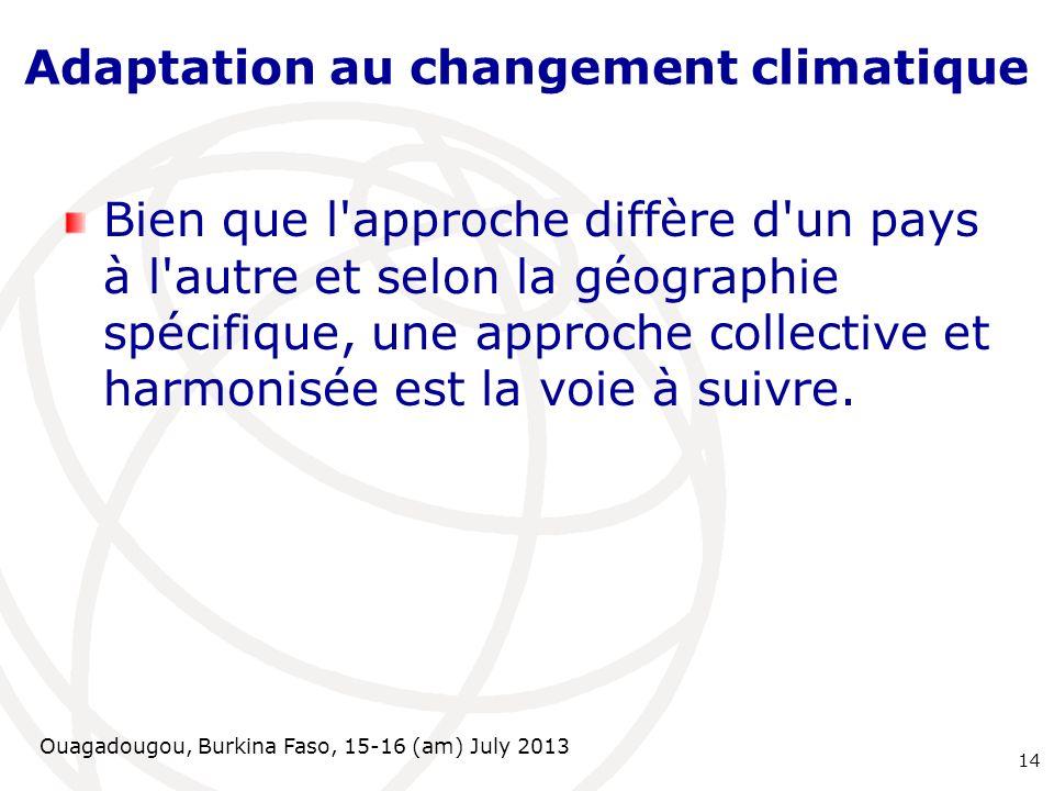 Ouagadougou, Burkina Faso, 15-16 (am) July 2013 Adaptation au changement climatique Bien que l'approche diffère d'un pays à l'autre et selon la géogra