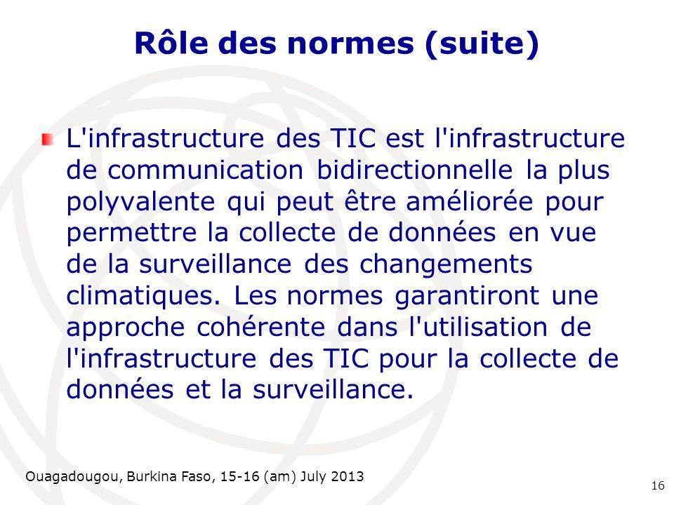 Ouagadougou, Burkina Faso, 15-16 (am) July 2013 Rôle des normes (suite) L'infrastructure des TIC est l'infrastructure de communication bidirectionnell