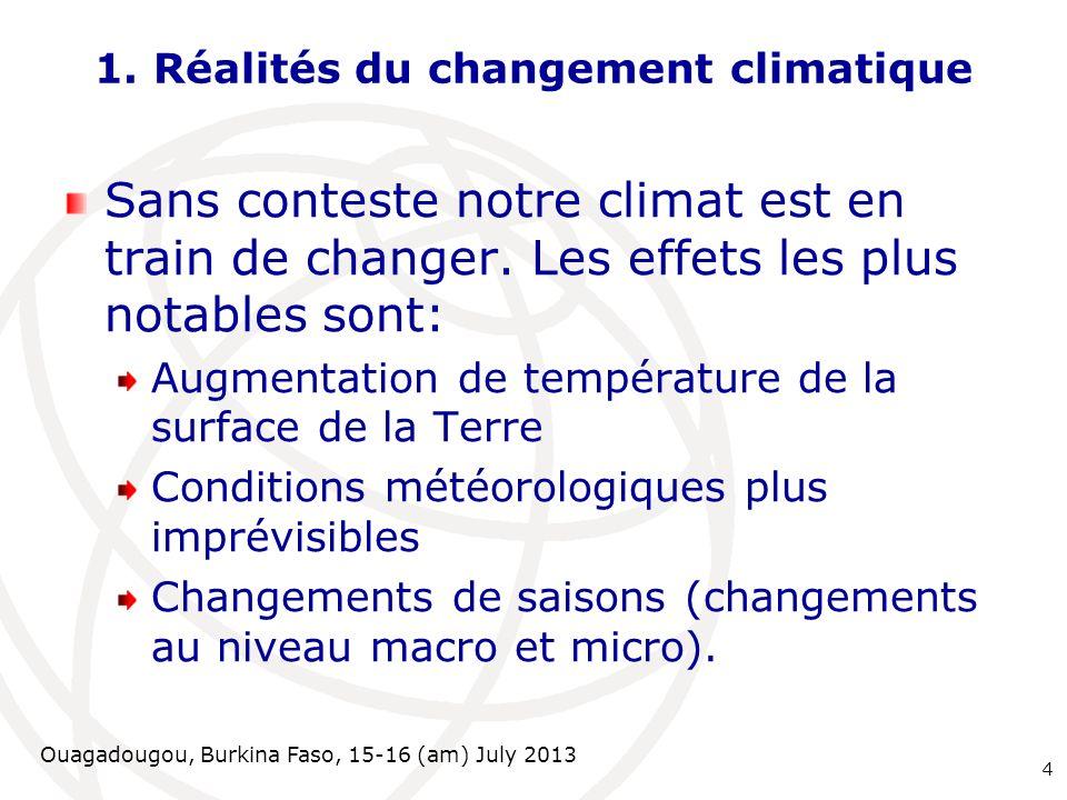 Ouagadougou, Burkina Faso, 15-16 (am) July 2013 1. Réalités du changement climatique Sans conteste notre climat est en train de changer. Les effets le